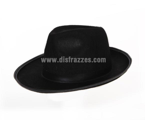 Sombrero o Gorro de Gánster negro. En la imagen la cinta es blanca pero es con cinta negra, también sirve como sombrero de Michael Jackson.