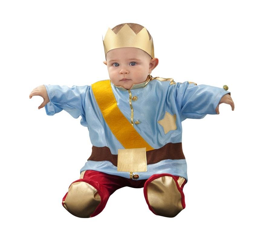 Disfraz de Principito azul para bebé de 6 a 12 meses. Incluye mono y gorro. Disfraz de Principe azul.
