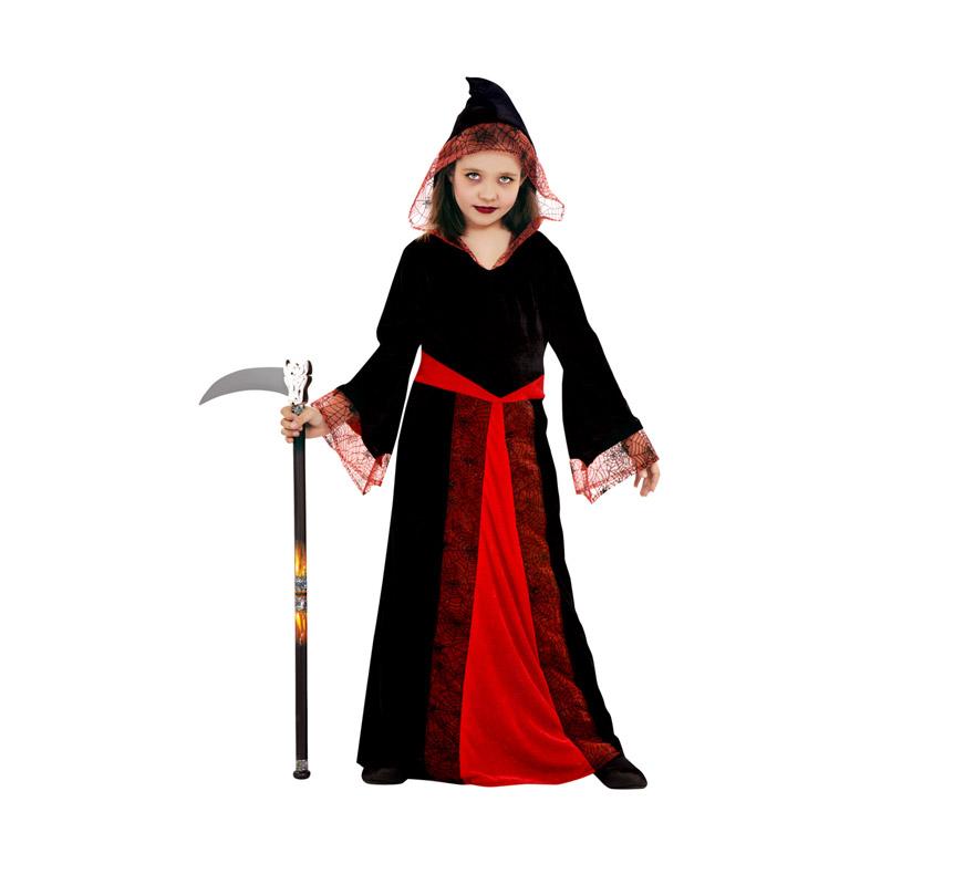 Disfraz de Mujer Araña con capucha para niñas de 5 a 6 años. Incluye vestido con capucha. Guadaña NO incluida, podrás verla en la sección de Complementos - Armas.