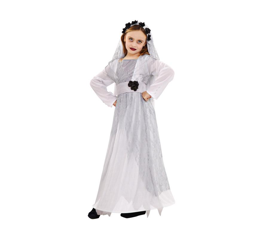 Disfraz de Novia Cadáver para niñas de 5 a 6 años. Incluye vestido, cinturón, velo y chaleco largo.