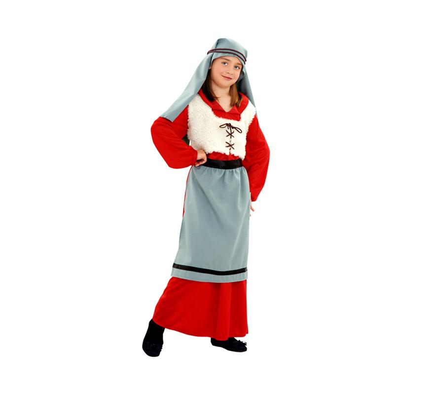 Disfraz de Panadera para niñas de 7 a 9 años. Incluye túnica, chaleco, delantal y manto. Perfecta como Panadera Medieval.