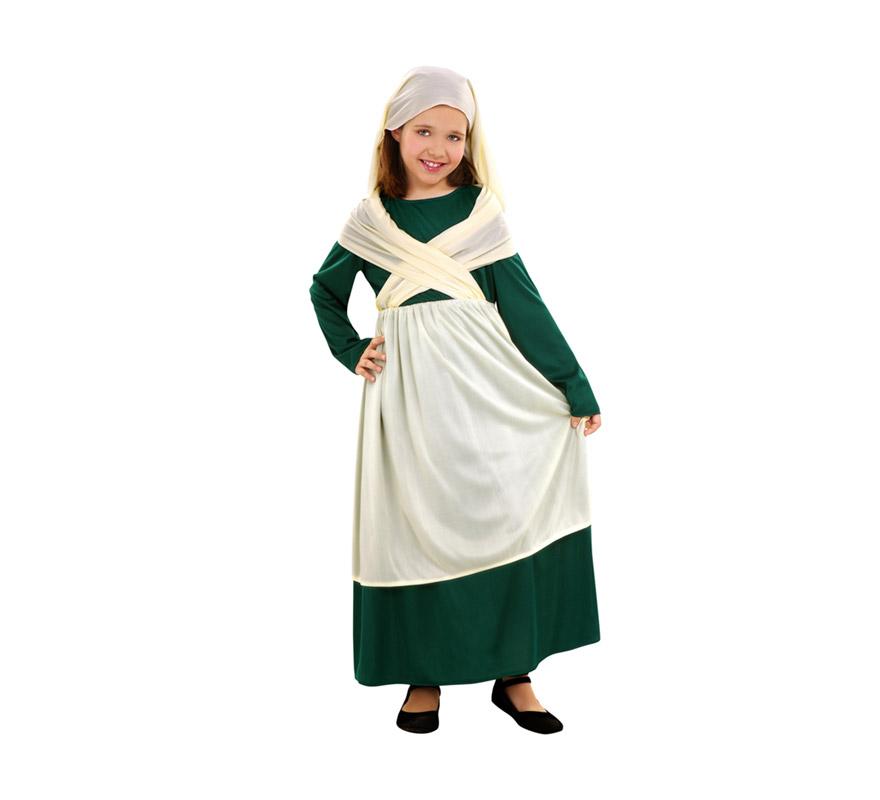 Disfraz de Frutera para niñas de 7 a 9 años. Incluye blusa, falda, manto y pañuelo. Perfecto como disfraz Medieval.