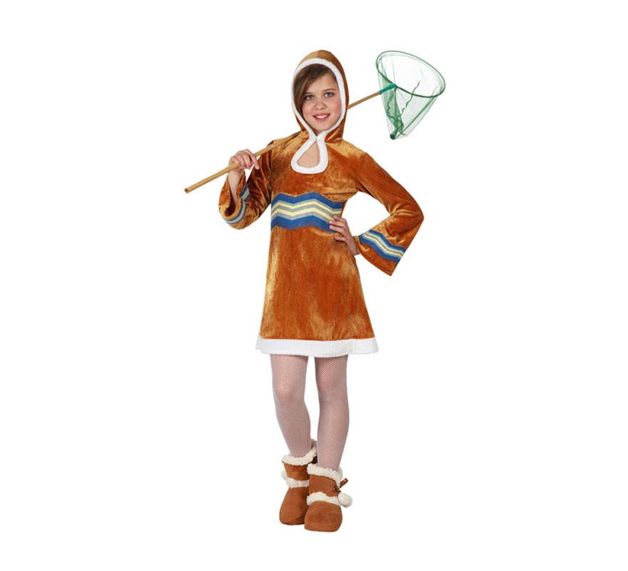 Disfraz de Esquimal para niñas de 7 a 9 años. Incluye vestido con capucha. Caña, medias y botas NO incluidas.
