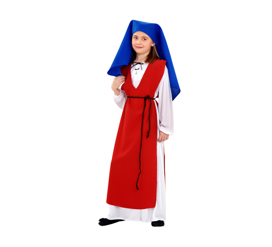 Disfraz de Hilandera para niñas de 7 a 9 años. Incluye túnica, pañuelo, cinturón y peto, Perfecto como disfraz de Posadera Medieval.