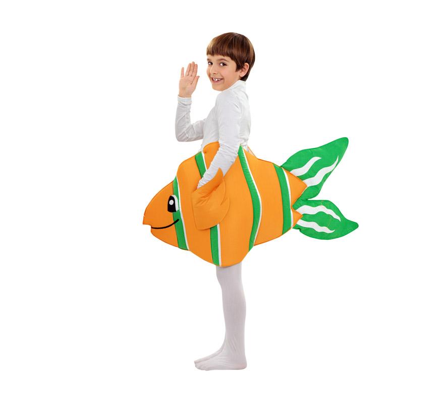 Disfraz de Pez Payaso para niños de 3 a 4 años. Incluye dos capas de foam en forma de Pez con tirantes. Maillot NO incluido, podrás verlo en la sección de Complementos. Ideal para imitar a Nemo.
