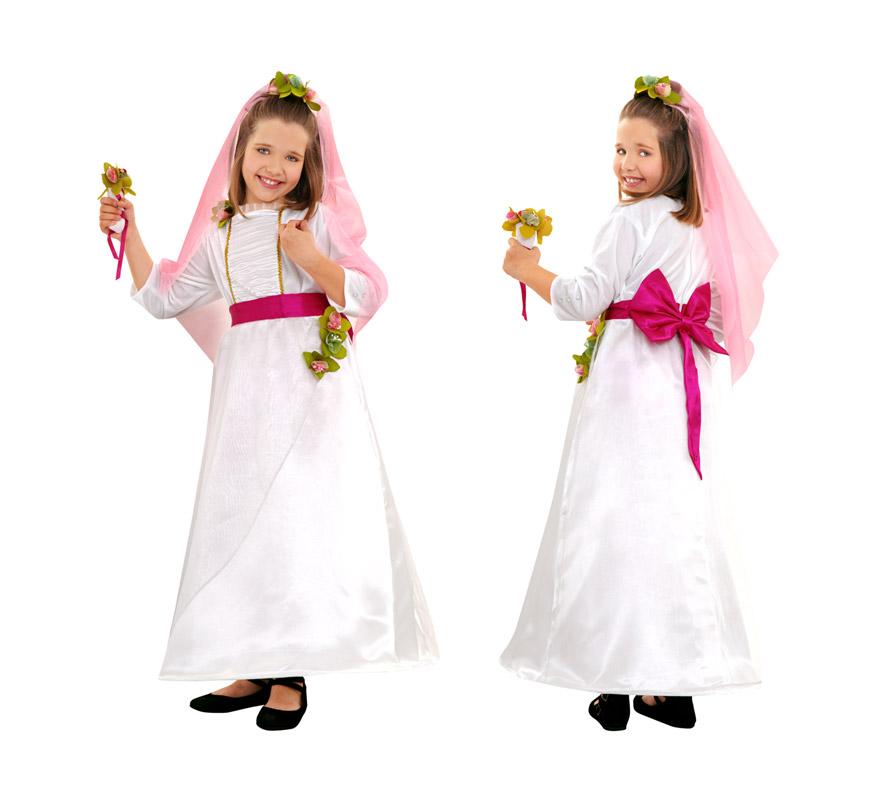 Disfraz de Novia para niñas de 5 a 6 años, Incluye vestido, velo y ramo.
