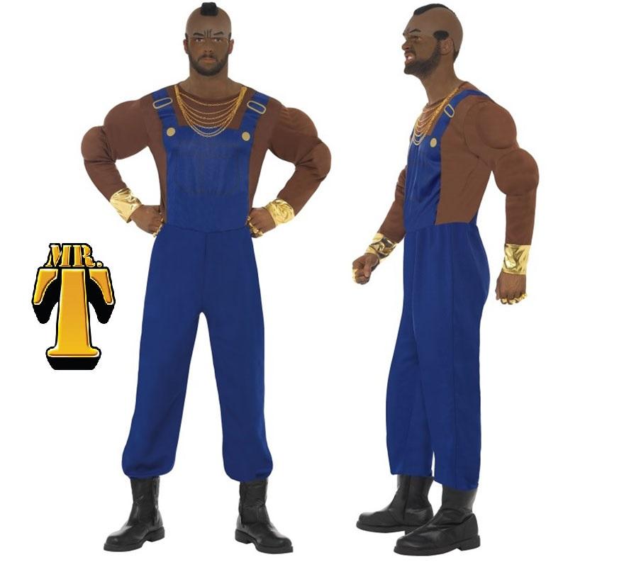 Disfraz M.A. Barracus o Mr. T Peto Azul para Hombre talla M 42/44. Disfraz Auténtico y de Alta Calidad del personaje M.A. de la célebre serie de televisión