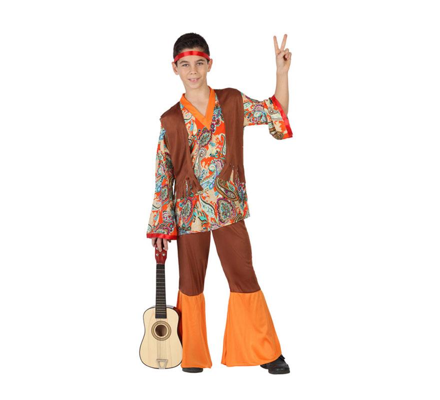 Disfraz para niños de Hippie Estampado de 7 a 9 años. Incluye pantalón con campanas y camiseta con chaleco. Guitarra NO incluida. Completa el disfraz con complementos de nuestra sección de Accesorios.