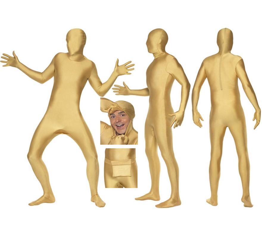 Mono segunda piel de color oro o dorado talla L de hombre, pero se lo pueden poner mujeres sin ningún problema ya que la tela es muy elástica y se adapta al cuerpo. Aconsejamos que consultes la tabla de medidas de hombre de éste proveedor para comprobar cuál sería tu talla antes de incluir éste artículo en tu pedido. Tela elástica. Limpieza en seco. SECOND SKIN SUIT. Incluye bolsillo, tipo riñonera para atarla en la cintura. Tiene un corte en el cuello por si quieres sacar la cabeza y va abierto por abajo para poder ir al baño sin tener que quitarte el disfraz.