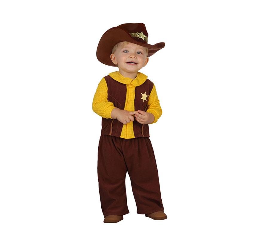 Disfraz de Vaquero o Cowboy marrón para bebés talla 12 a 24 meses. Incluye camisa con chaleco y pantalón. Sombrero NO incluido.