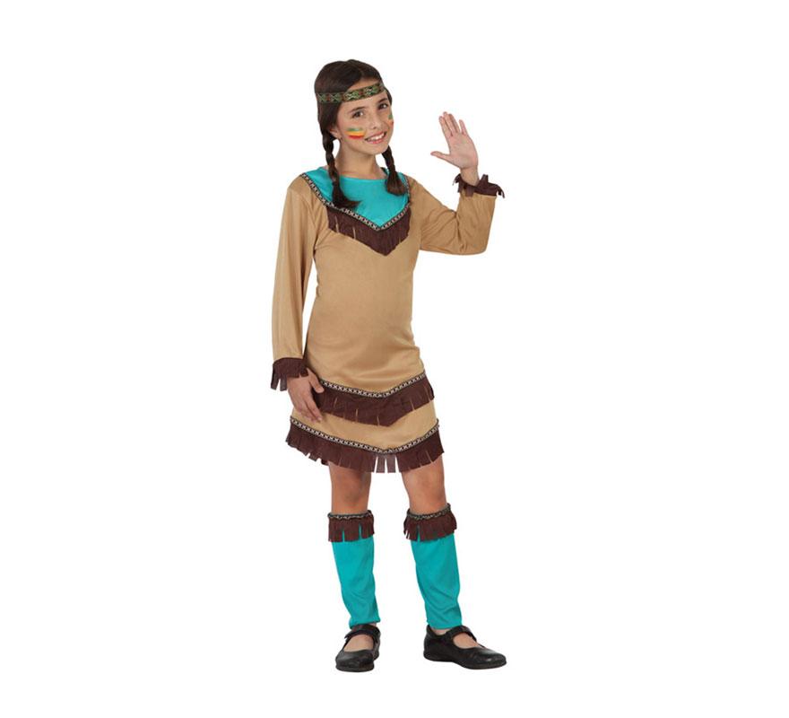 Disfraz para niñas de India marrón y azul de talla 10 a 12 años. Incluye vestido, calentadores y cinta. Completa el disfraz con complementos de nuestra sección de Accesorios.