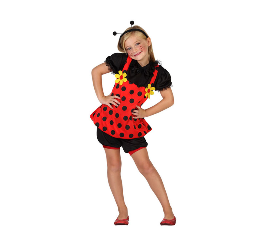 Disfraz de Mariquita con margaritas para niñas de 7 a 9 años. Incluye diadema con antenas, camiseta y pantalón corto.