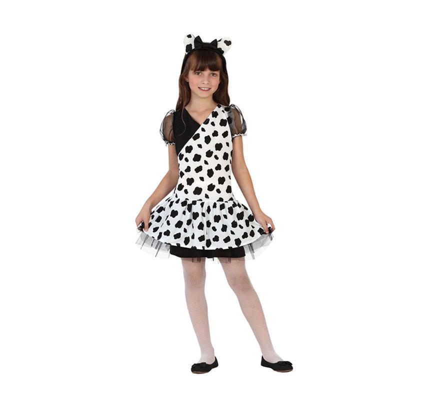 Disfraz para niñas de Dálmata de 7 a 9 años. Incluye vestido y diadema con orejas. Medias y zapatos NO incluidos. En nuestra sección de Accesorios encontrarás varios complementos. Perfecto para ser la Bailarina 101 Dálmatas.