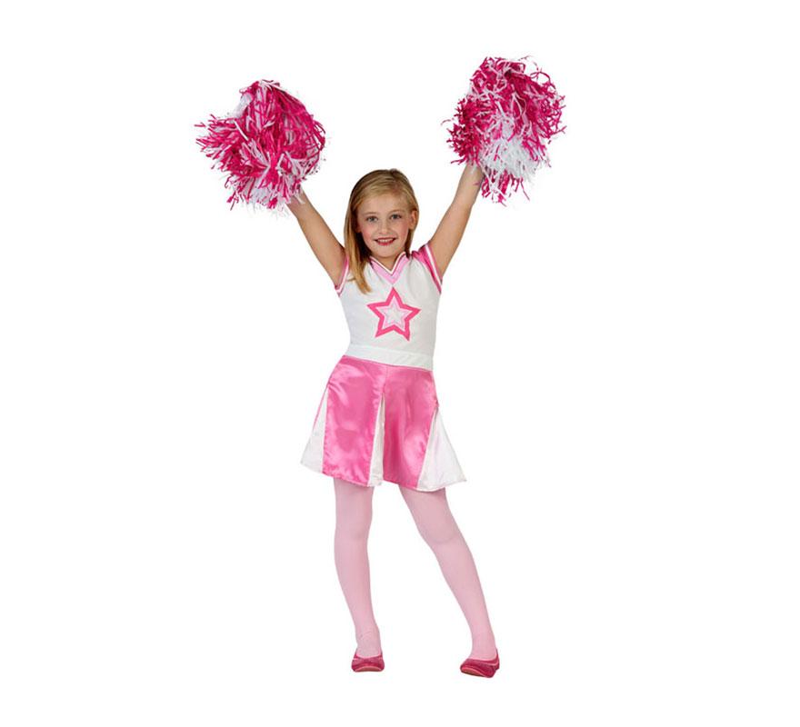 Disfraz de Animadora rosa para niñas de 3 a 4 años. Incluye vestido. Completa el disfraz con complementos de nuestra sección de Accesorios como pom-pom o pompones y medias.