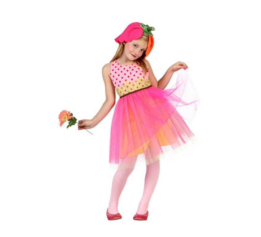 Disfraz de Flor con tutú para niñas de 10 a 12 años. Incluye vestido con tutú y tocado. Resto de complementos NO incluidos.