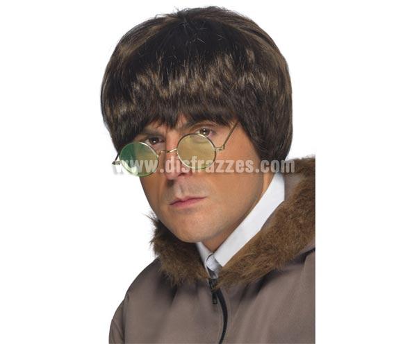 Peluca de John Lennon marrón o peluca del Pop Británico.