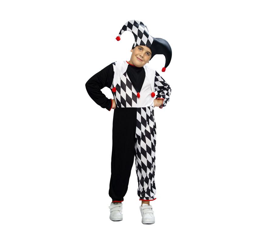 Disfraz barato de Arlequín para niños de 10 a 12 años. Incluye mono y sombrero. Éste disfraz que también se puede denominar de Bufón para niños, es muy chulo y con un buen maquillaje queda genial.