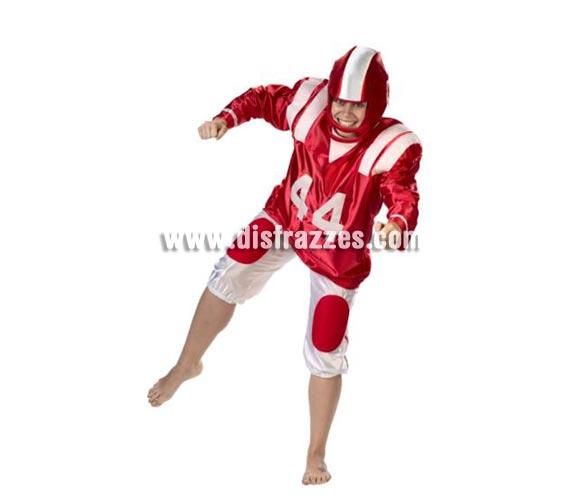 Disfraz de Jugador de Rugby. Alta calidad. Hecho en España. Disponible en talla única de hombre (50) y de mujer (44). Incluye pantalón, camisa con hombreras y casco de tela.
