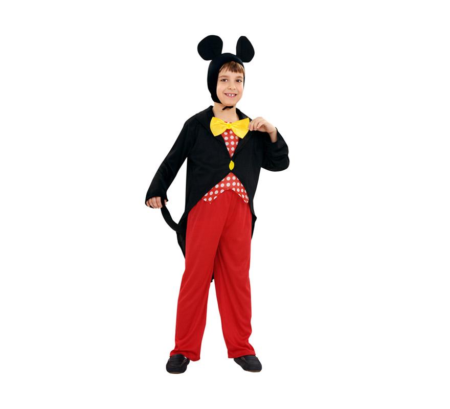 Disfraz de Ratón para niños de 5 a 6 años. Incluye chaqueta, pantalón y gorro. Con éste disfraz podrás imitar al fantástico Mickey Mouse.