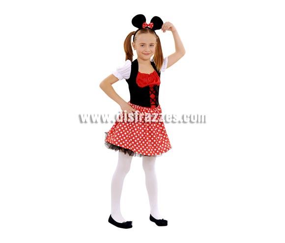 Disfraz de Ratoncita para niñas de 3 a 4 años. Incluye vestido, tocado y ligas. Con éste disfraz podrás imitar a la fantástica Minnie Mouse.