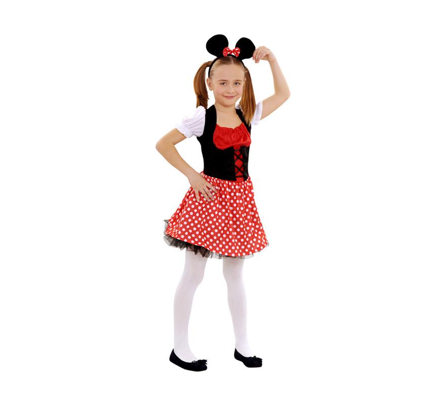 Disfraz de Ratoncita para niñas de 7 a 9 años. Incluye vestido, tocado y ligas. Con éste disfraz podrás imitar a la fantástica Minnie Mouse.