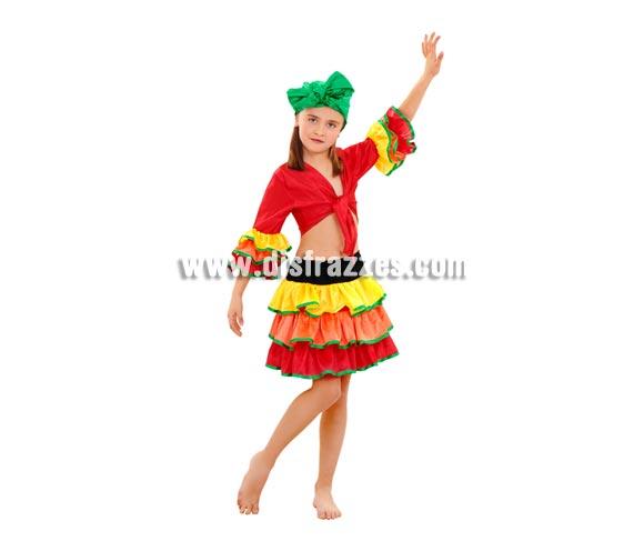 Disfraz de Rumbera para niñas de 7 a 9 años. Incluye pañuelo de la cabeza, camisa y falda. Disfraz de Caribeña o Brasileña para niñas.