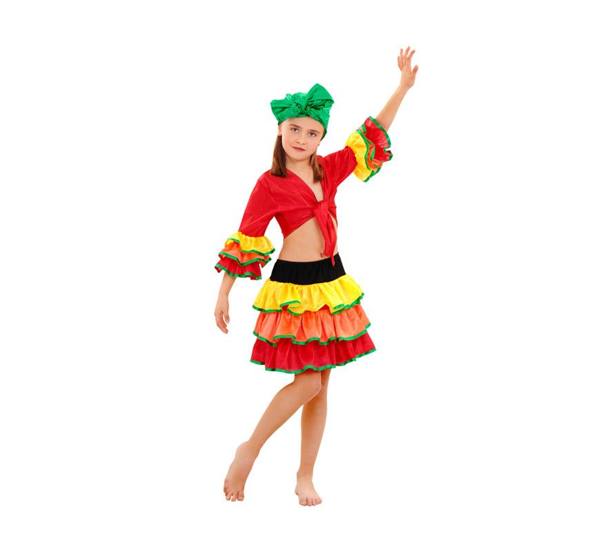 Disfraz de Rumbera para niñas de 10 a 12 años. Incluye pañuelo de la cabeza, camisa y falda. Disfraz de Caribeña o Brasileña para niñas.