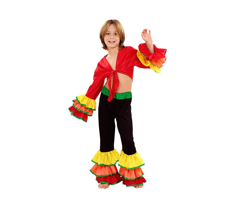 Disfraz de Rumbero para niños de 10 a 12 años. Incluye camisa y pantalón. Disfraz de Caribeño o Brasileño para niños.