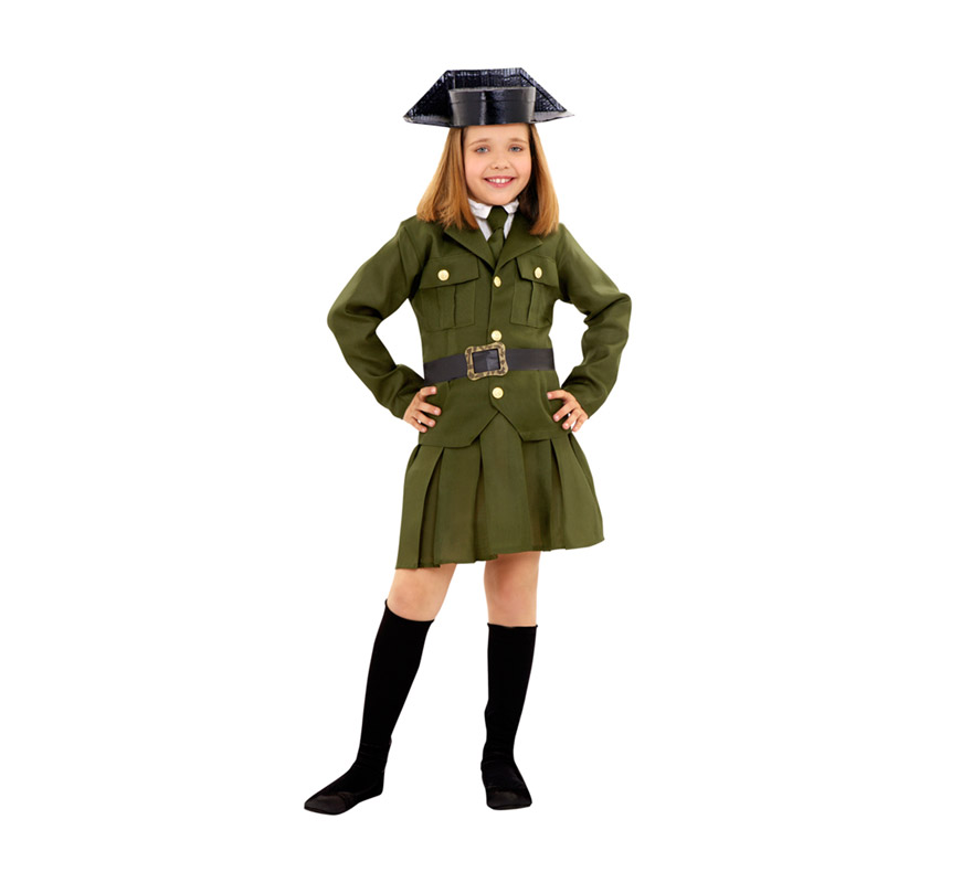 Disfraz de Guardia Civil para niñas de 10 a 12 años. Incluye chaqueta, falda, corbata, tricornio y cinturón.