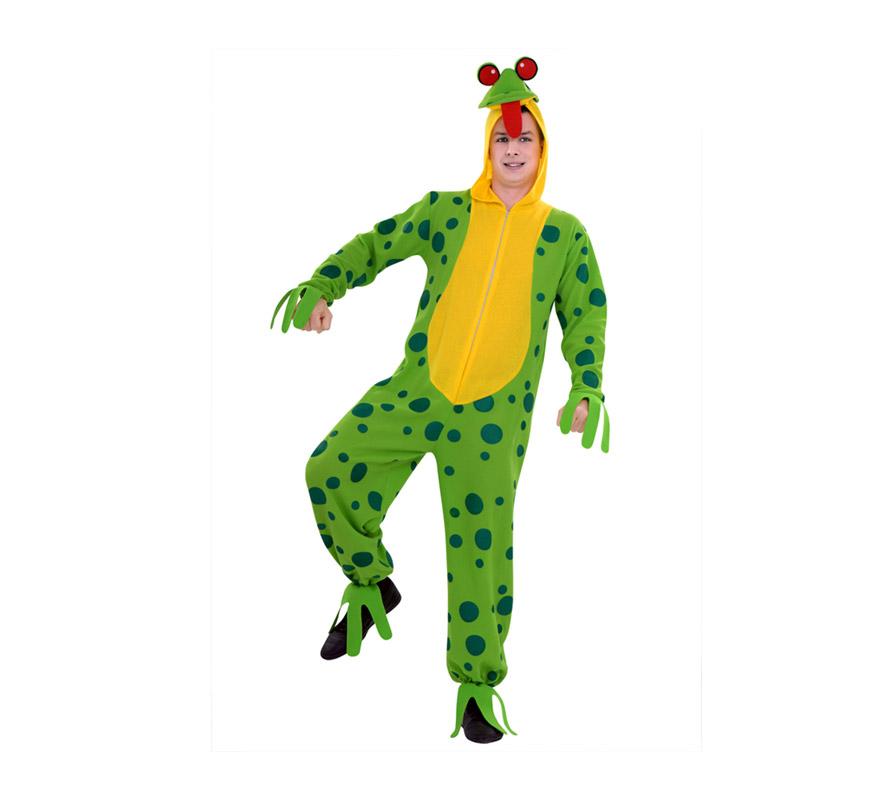 Disfraz de Rana verde para adultos. Talla M-L 52/54. Incluye mono con gorro.