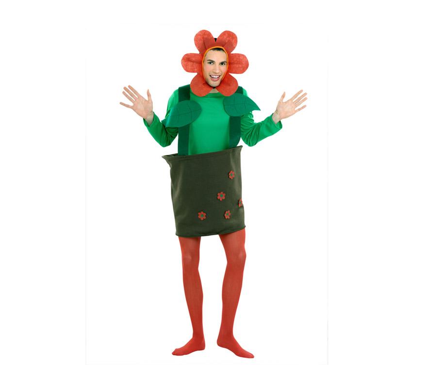 Disfraz de Maceta para hombre. Talla Standar M-L 52/54. Incluye gorro, camiseta y maceta. Disfraz de Flor o Planta para hombre. Ideal para Despedidas de Soltero.