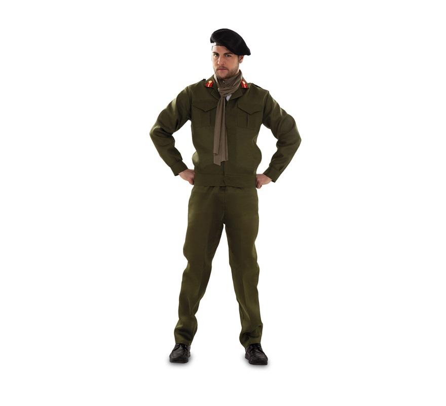 Disfraz de Militar o Montgomery para hombre. Talla standar M-L 52/54. Incluye boina, foulard, chaqueta y pantalón.