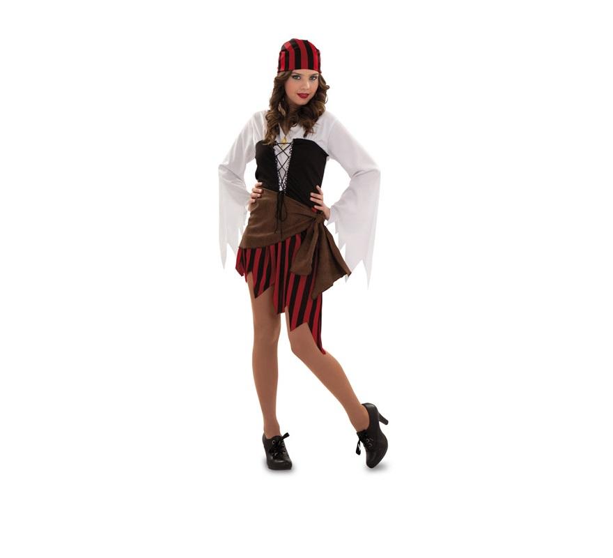Disfraz de Mujer Pirata para mujer. Talla S 34/38 para chicas delgadas y para adolescentes. Incluye vestido, pañuelo de la cabeza y cinturón.