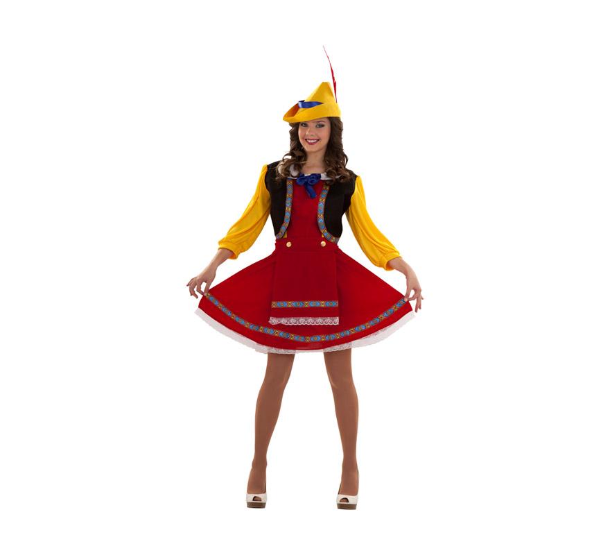 Disfraz de Tirolesa para mujer. Talla S 34/38 para chicas delgadas y para adolescentes. Incluye sombrero, vestido y delantal. También es perfecto como disfraz de Alemana tradicional o Pinocho para chicas.