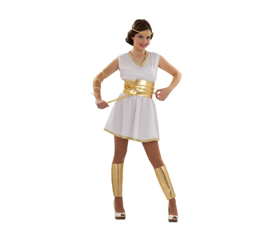 Disfraz de Romana Minerva para mujer. Talla S = 34/38 para chicas delgadas y adolescentes. Incluye vestido, 2 cinturones, cinta cabeza y brazo y espinilleras.