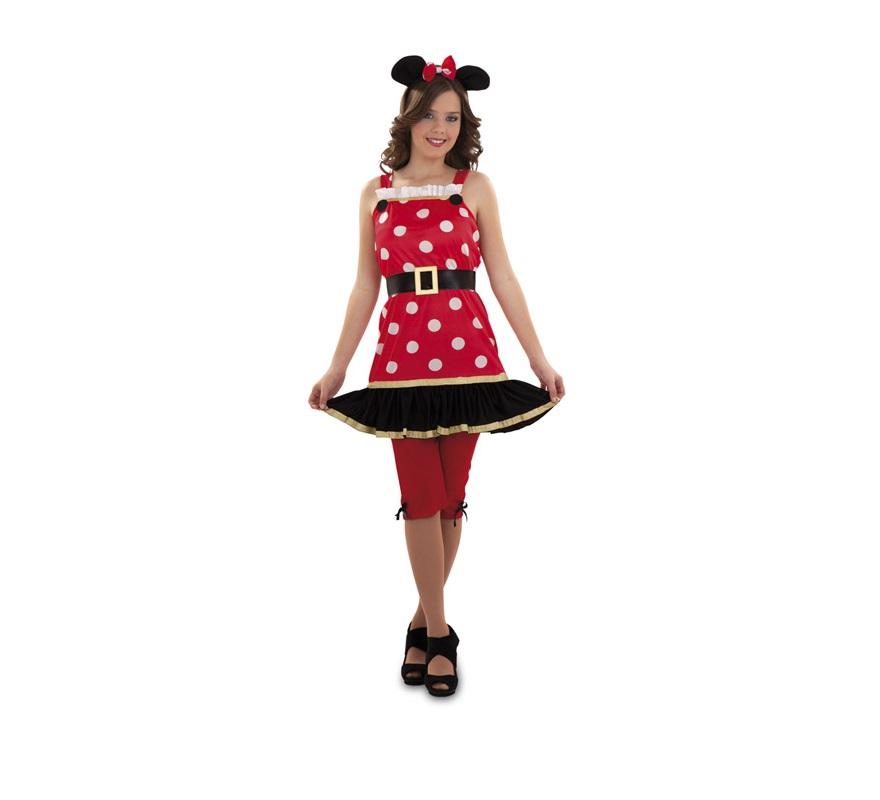Disfraz de Ratoncita o Ratita para mujer. Talla S 34/38 para chicas delgadas y para adolescentes. Incluye diadema, vestido, cinturón y pantalón. Con éste disfraz te parecerás a Minnie.
