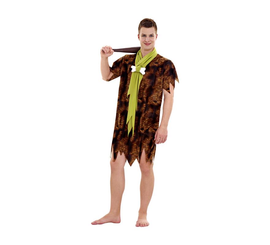 Disfraz de Cavernícola para hombre. Talla Standar M-L 52/54. Incluye traje y lazo con hueso. Maza NO incluida, podrás verla en la sección de Complementos. Ideal para disfrazarse de Pablo Mármol de los Picapiedra.