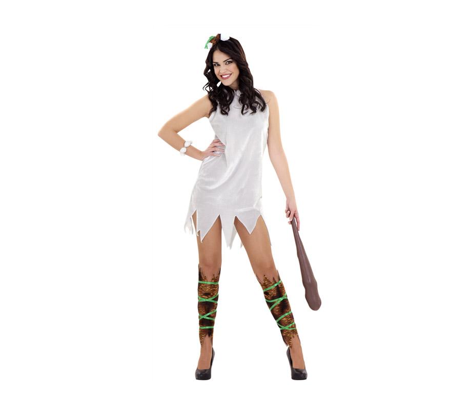 Disfraz de Cavernícola para mujer. Talla standar M-L 38/42. Incluye vestido, diadema, pulsera, calentadores y cuerdas para las piernas. Maza NO incluida, podrás verla en la sección de Complementos. Ideal como disfraz de Wilma Picapiedra.