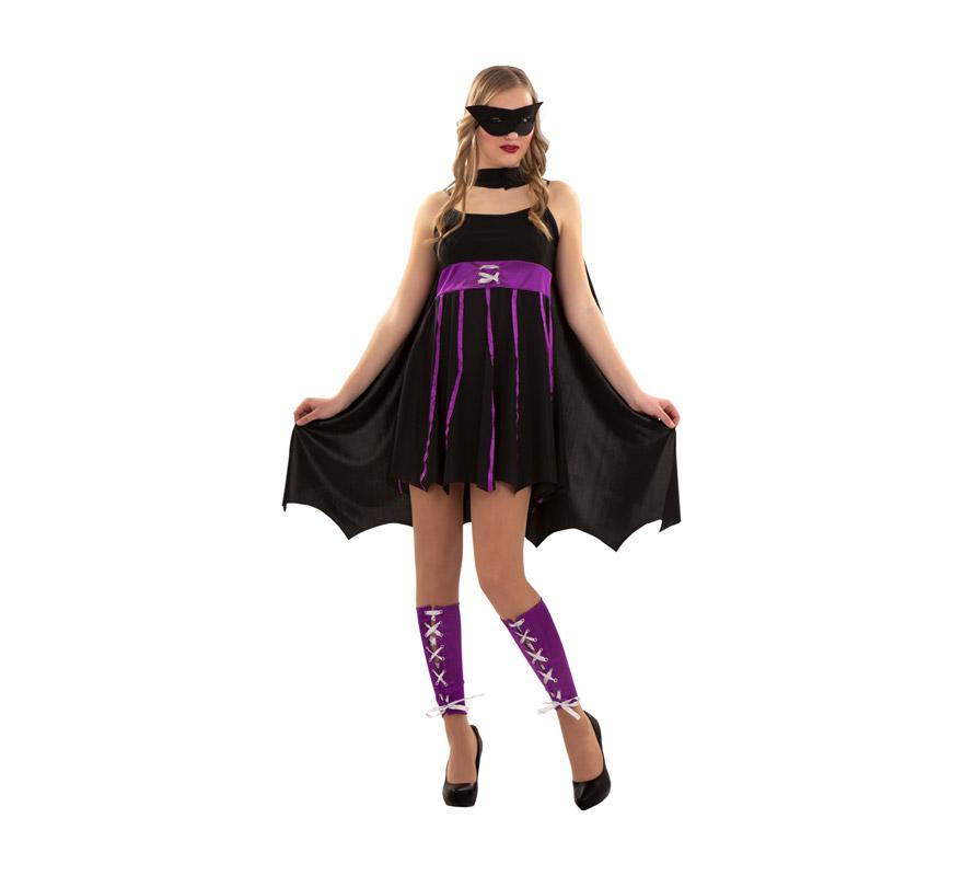 Disfraz de Heroína Fantástica para chicas. Talla S = 34/38 para chicas delgadas y adolescentes. Incluye antifaz, vestido, capa y manguitos.