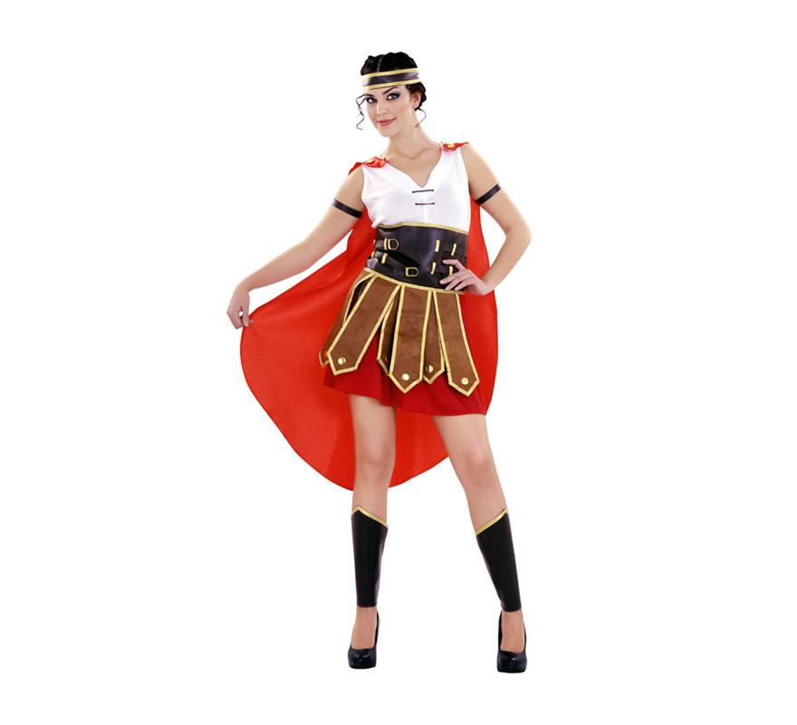Disfraz de mujer Centurión sexy para mujer. Talla Standar M-L = 38/42. Incluye vestido, cinturón, capa, adorno brazo, cinta para la cabeza y cubre piernas. También se usa como disfraz de Guerrera Romana para teatros o Cabalgatas en Navidad.