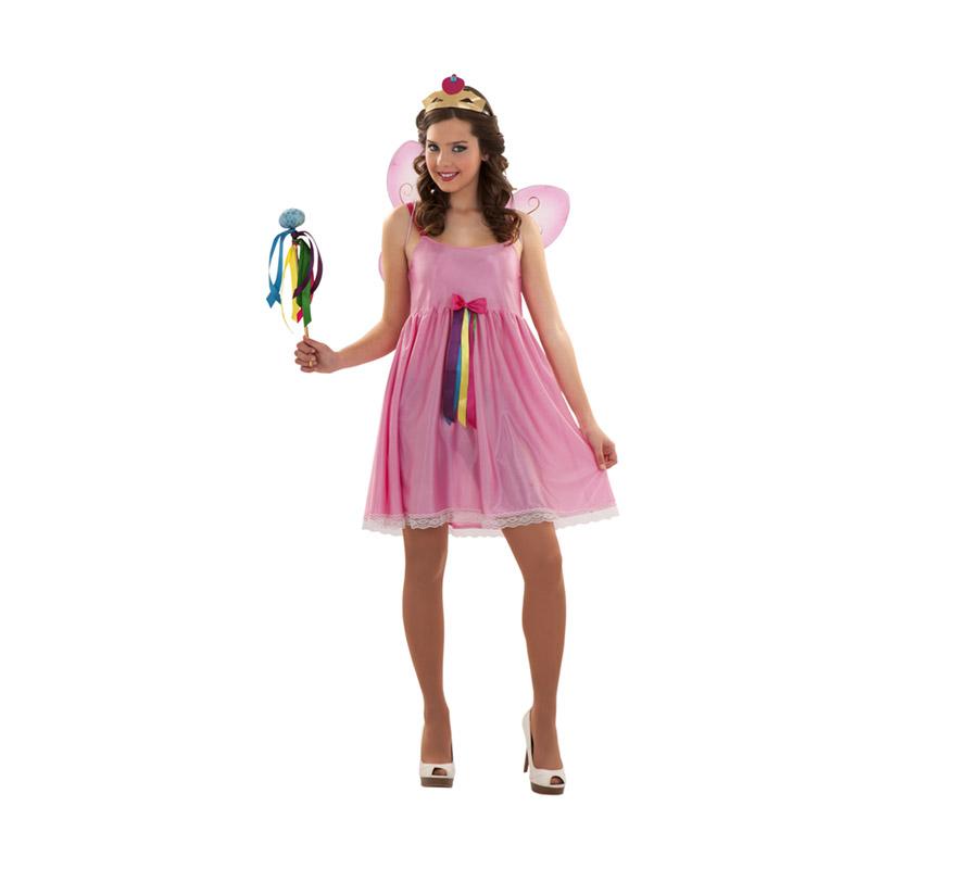 Disfraz de Hada Rosa para mujer. Talla S 34/38 para chicas delgadas y para adolescentes. Incluye vestido, corona y varita. Alas NO incluidas, podrás verla en la sección de Complementos. También sirve como disfraz de Princesa sexy.