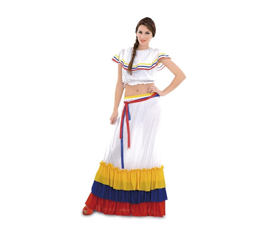 Disfraz de Sudamericana para mujeres. Talla standar M-L = 38/42. Incluye falda, blusa y 2 cintas para la cintura.