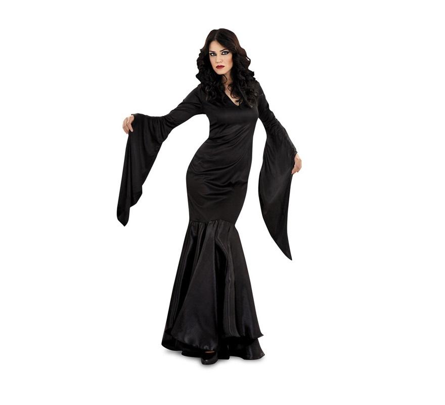 Disfraz de Lady Difunta o de Morticia adulta para Halloween. Talla única válida hasta la 38/42. Incluye vestido. Para disfrazarse de la FAMILIA ADDAMS.