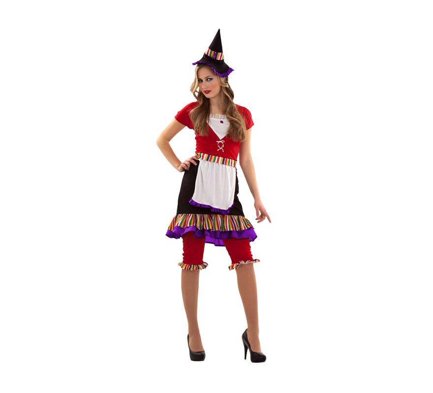 Disfraz de Bruja alegre para mujer. Talla S 34/38 para chicas delgadas y adolescentes. Incluye disfraz y sombrero.