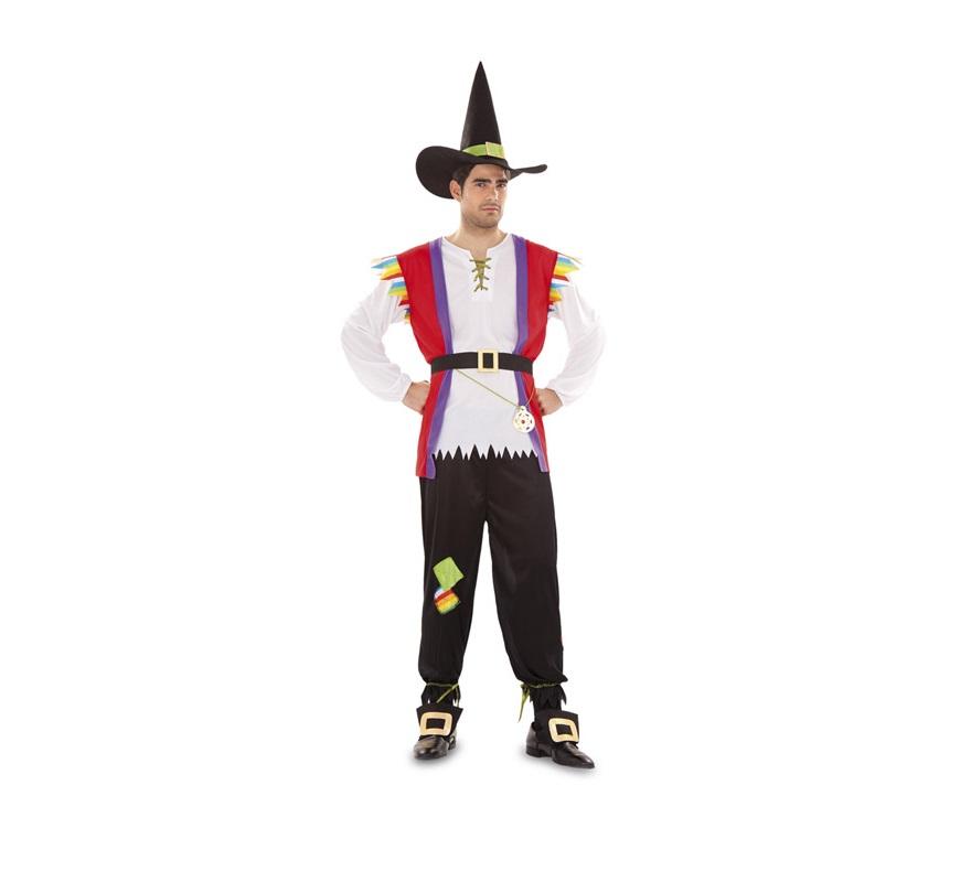 Disfraz de Hechicero o Brujo para hombre. Talla Standar M-L 52/54. Incluye sombrero, chaleco, camisa, pantalón, dos hebillas para zapatos y cinturón.