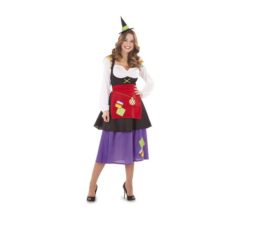 Disfraz de Bruja Hechicera para mujeres. Talla Standar M-L 38/42. Incluye vestido, delantal y sombrero - tocado.