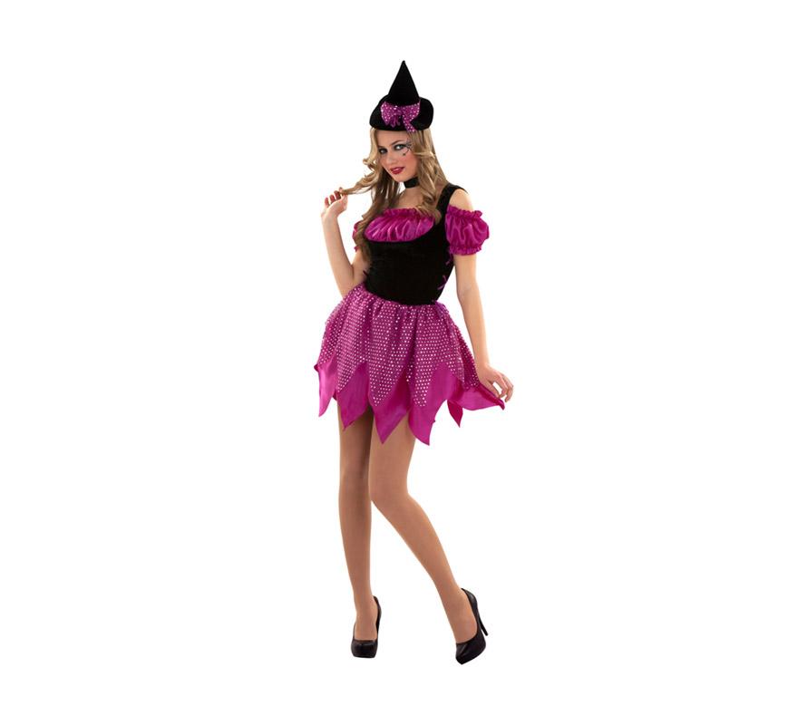 Disfraz de Bruja Moderna rosa para mujer. Talla S 34/38 para chicas delgadas y adolescentes. Incluye vestido, gargantilla y diadema.
