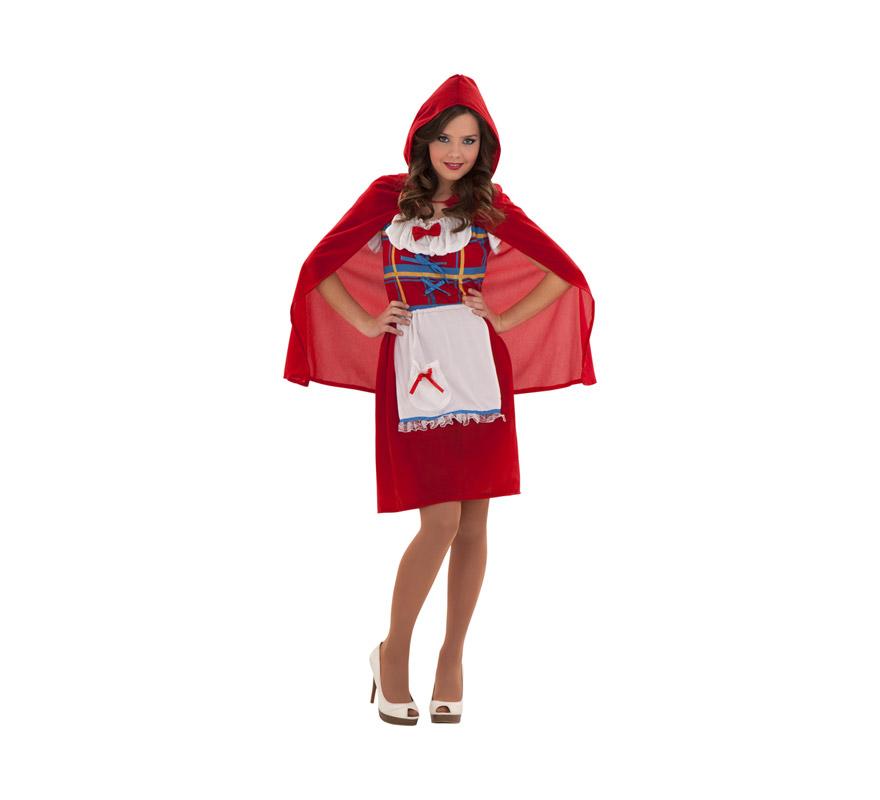 Disfraz de Caperucita roja Campesina para mujer. Talla S 34/38 para chicas delgadas y para adolescentes. Incluye falda, camisa y capa con capucha.