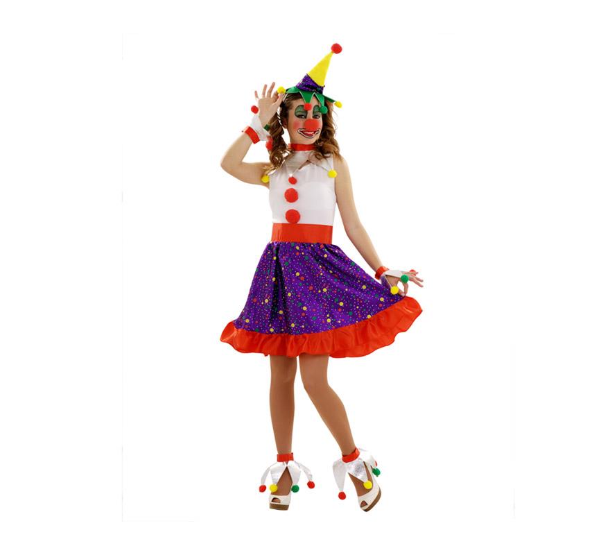 Disfraz de Payasa del Circo para mujer. Talla S 34/38 para chicas delgadas o para adolescentes. Incluye sombrero con diadema, cuello, vestido, 2 muñequeras y 2 espinilleras. Nariz NO incluida, podrás verla en la sección de Complementos.