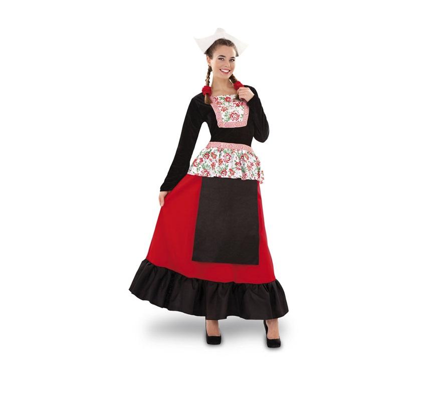 Disfraz de Holandesa para mujer. Talla standar M-L = 38/42. Incluye sombrero y vestido.